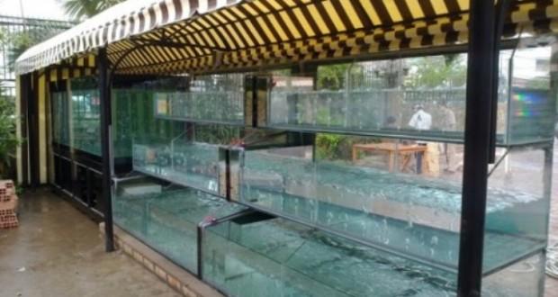 Bể hải sản ba tầng dài 6m