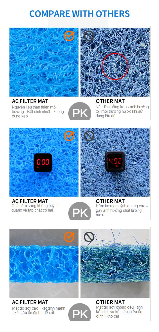 Hình ảnh So sánh bùi nhùi AC Filter Mat và Bùi Nhùi truyền thống