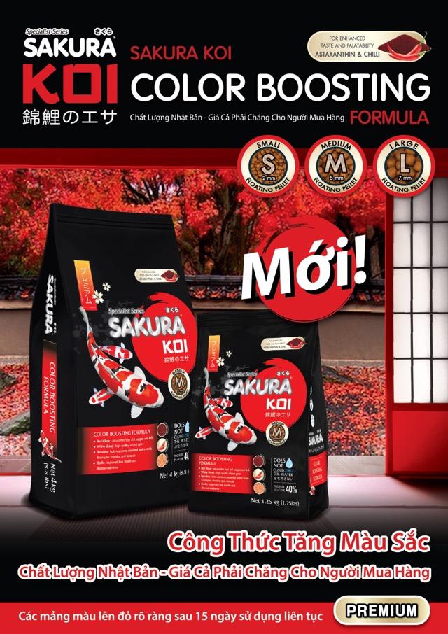 Hình ảnh Kích thước hạt thức ăn cá koi Sakura tăng màu