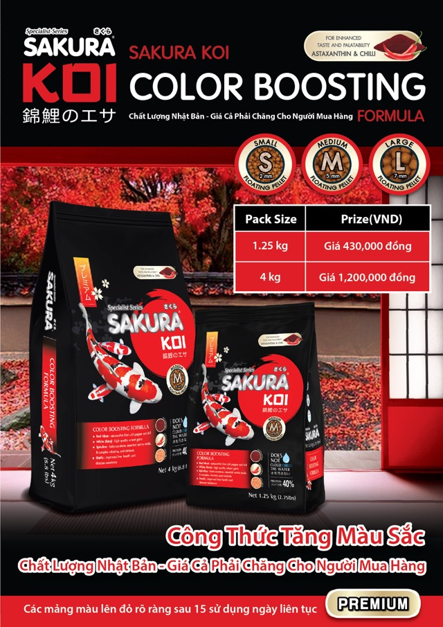 Hình ảnh Bảng giá thức ăn tăng màu Sakura