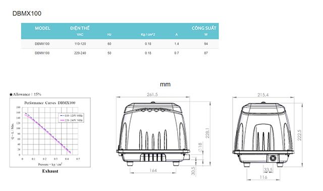 Hình ảnh Thông tin máy sủi khí Airmac DBMX100