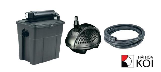 Hình ảnh Bộ sản phẩm gồm Thùng Lọc - Đèn UV - Máy Bơm - Đường Ống